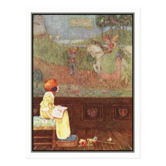 Chica del vintage con el libro de Millicent Postal