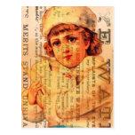 Chica del vintage con la paloma y los anuncios postales