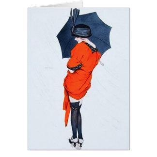 Chica del vintage con la tarjeta de felicitación d