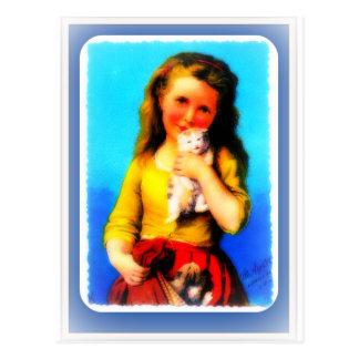 chica del vintage con los gatitos tarjetas postales