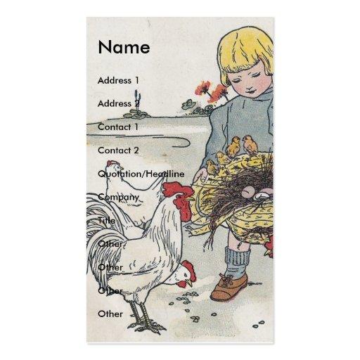 Chica del vintage con los pollos tarjetas de visita