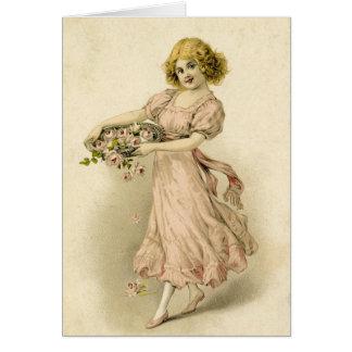 Chica del vintage con los rosas tarjeta de felicitación