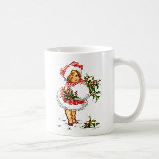 Chica del vintage del navidad taza de café