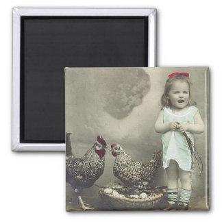 Chica del vintage e imán de los pollos