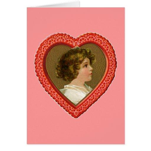 Chica del vintage en corazón tarjeta