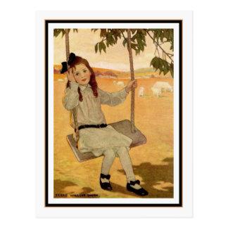 Chica del vintage en el oscilación de Jessie Willc Tarjeta Postal