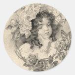 Chica del vintage etiqueta redonda