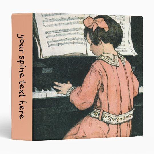 """Chica del vintage, música, piano, Jessie Willcox Carpeta 1 1/2"""""""