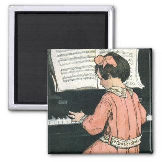 Chica del vintage, música, piano, Jessie Willcox Imán Cuadrado