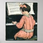 Chica del vintage, música, piano, Jessie Willcox S Poster