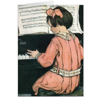 Chica del vintage, música, piano, Jessie Willcox Tarjetas