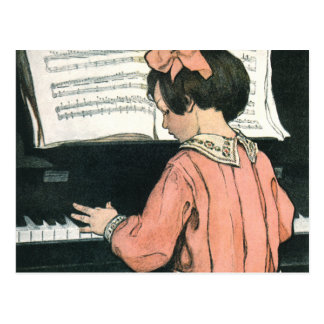 Chica del vintage, música, piano, Jessie Willcox Postal