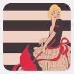 Chica del vintage pegatinas cuadradases personalizadas