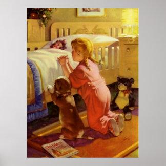 Chica del vintage que ruega con el perro; Rezos de Poster