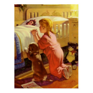 Chica del vintage que ruega con el perro; Rezos de Postal