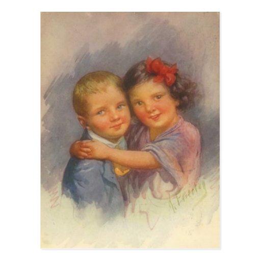 Chica del vintage que se sienta en el muchacho, ab tarjeta postal