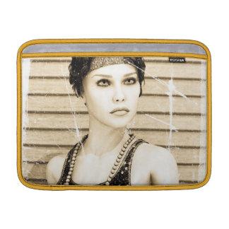 Chica del vintage, viejo efecto de la foto funda  MacBook