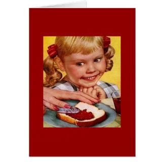 Chica del vintage y bocadillo de la jalea tarjeta de felicitación