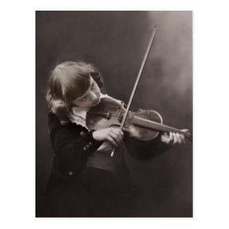 Chica del vintage y postal del violín c1920s
