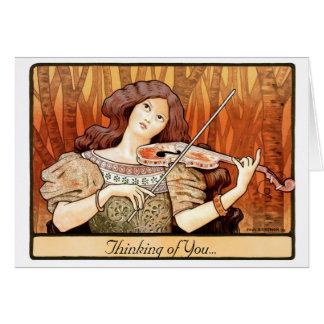 Chica del violín de Nouveau del arte Tarjetas