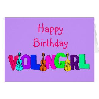 Chica del violín del feliz cumpleaños tarjeta de felicitación