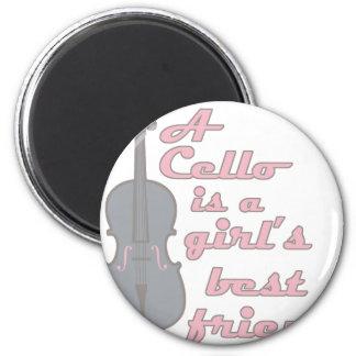Chica del violoncelo imán redondo 5 cm