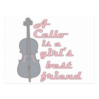 Chica del violoncelo tarjeta postal