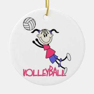 Chica del voleibol adorno navideño redondo de cerámica
