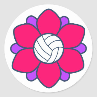 Chica del voleibol de las rosas fuertes etiqueta redonda