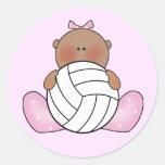 Chica del voleibol de Lil - étnico Etiquetas Redondas