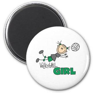 Chica del voleibol imán redondo 5 cm