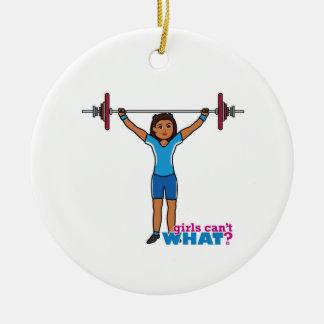 Chica del Weightlifter Adorno Navideño Redondo De Cerámica