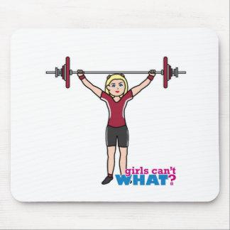 Chica del Weightlifter - luz/Blonde Alfombrilla De Ratones