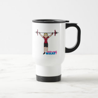 Chica del Weightlifter - luz/Blonde Taza Térmica