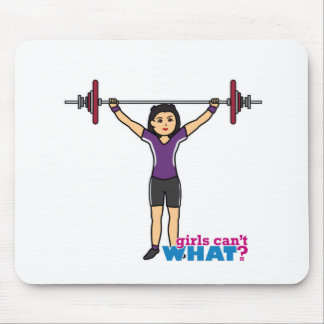 Chica del Weightlifter - medio Mouse Pads