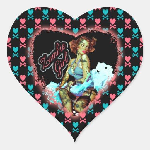 chica del zombi de los años 80 calcomanía corazón personalizadas