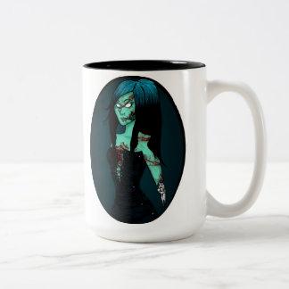 Chica del zombi en taza del corsé
