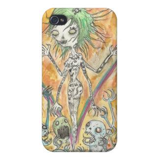 Chica del zombi iPhone 4 carcasas