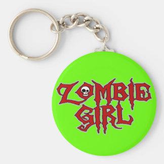 Chica del zombi llavero redondo tipo pin