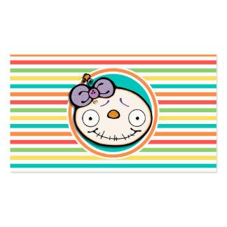 Chica del zombi, rayas brillantes del arco iris tarjetas de visita