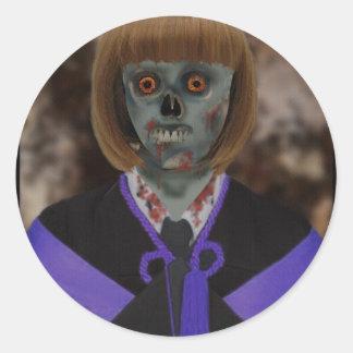 Chica del zombi U Pegatina Redonda