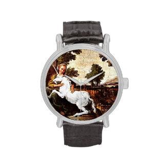 Chica descalzo y unicornio blanco relojes de mano