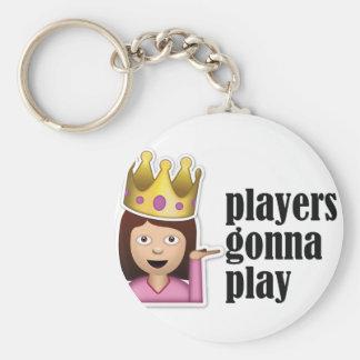 Chica descarado Emoji - jugadores que van a jugar Llavero Redondo Tipo Pin