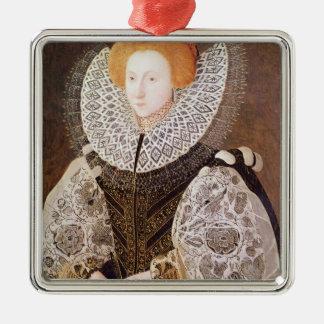 Chica desconocido, envejecido 20, 1587 adorno navideño cuadrado de metal