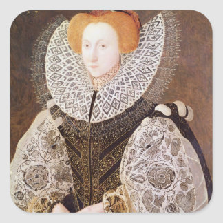 Chica desconocido, envejecido 20, 1587 calcomania cuadradas personalizadas