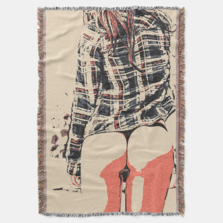 Chica desnudo artístico en bosquejo de la camisa y manta