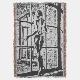 Chica desnudo artístico en el dibujo de la ventana manta