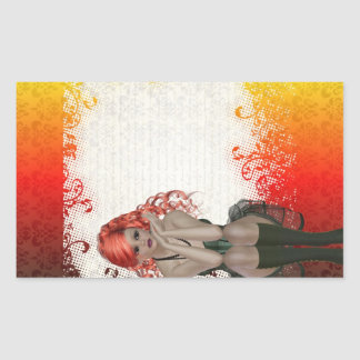 Chica dirigido rojo del gótico pegatina rectangular