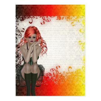 Chica dirigido rojo del gótico postales