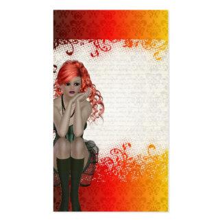 Chica dirigido rojo del gótico tarjetas de visita